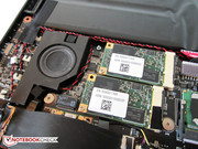 The manufacturer installs two mSATA SSDs ex-factory.