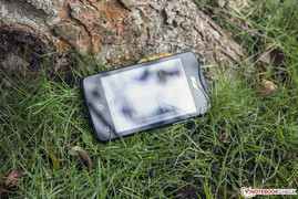 The Acer Z3 Duo outdoors.