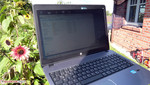 The screen's matte surface enables using the ProBook outdoors despite its somewhat too low brightness.