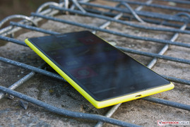 The glossy screen does not allow acute viewing angles in sunlight.