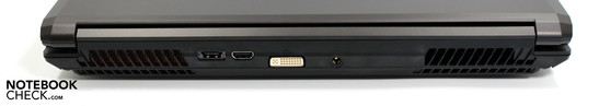 Rear: eSATA/USB, HDMI, DVI-I, power socket
