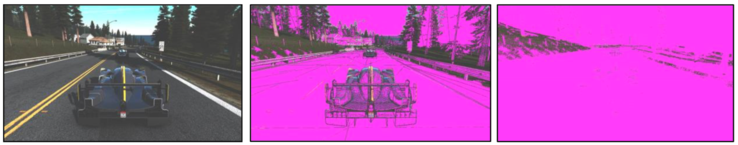 Example for the color compression of a gaming scene. The second picture shows the compressed surfaces of Maxwell in magenta. The third picture shows Pascal can compress even more parts of the picture.