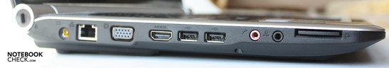 Left: 5-in1 cardreader, 3.5 mm headphone-out with S/PDIF, microphone-in, 2x USB 2.0, HDMI, VGA, LAN, DC-in, Kensington lock