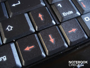 The arrow keys are somewhat narrower and reach into the keypad.