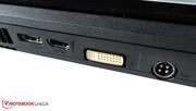 External monitors may be connected via DVI or HDMI.