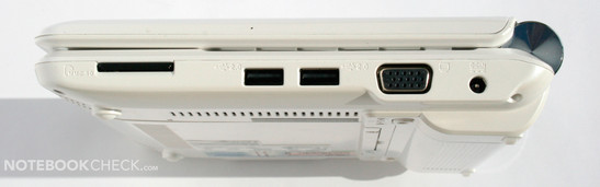 Right side: MMC/SD reader, 2x USB 2.0, VGA, power socket