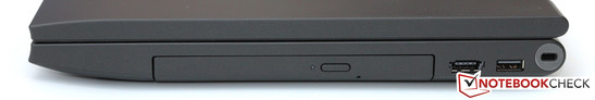 Right side: DVD drive, USB 2.0/eSATA, USB 2.0, Kensington Lock