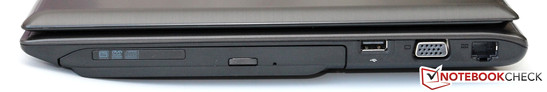 Right side: DVD optical drive, USB 2.0, VGA, GBit LAN