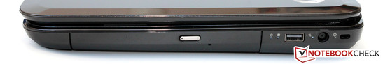 Right side: DVD drive, USB 2.0, AC jack, Kensington Lock