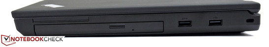 Right side: Optical drive, USB 3.0, USB 2.0, Kensington Lock
