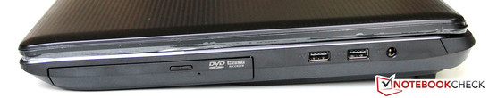 Right side: DVD drive, 2x USB 2.0, power supply connector