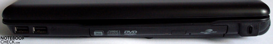 Right side: 2x USB 2.0, optical drive, Kensington Lock