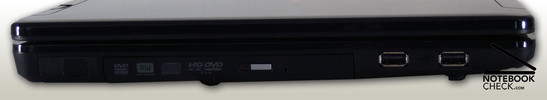 Left Side: HD-DVD Drive, 2x USB 2.0