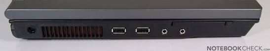 Left Side: Kensington Lock, Power Connector, 2x USB, VGA, LAN, Modem, HDMI, Firewire