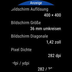 The AMOLED panel has a resolution of 400x400 pixels