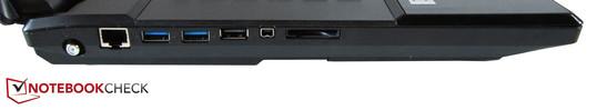 Left: Antenna, RJ-45 Gigabit-Lan, 2x USB 3.0, USB 2.0, Firewire, 9-in-1-card-reader