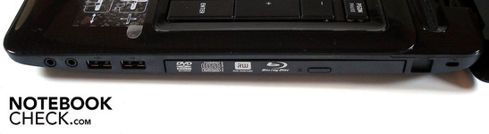 Right side: 2x Sound, 2x USB 2.0, optical drive, Kensington security slot