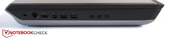 Left side: Kensington Lock, power, HDMI, mini DisplayPort, 2x USB 3.0, 3x sound