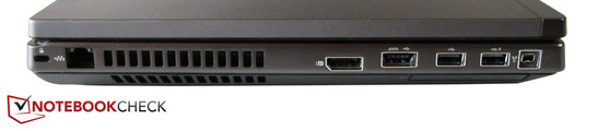 Left: Kensington Lock, RJ-45 Gigabit LAN, display port, eSATA / USB 2.0 combo, 2 USB 2.0, FireWire, 54 mm ExpressCard