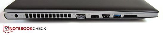 left side: power input, VGA, RJ-45 Fast-Ethernet-Lan, HDMI, USB 3.0, card reader