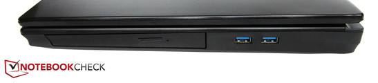 Right side: Blu-ray burner, 2x USB 3.0