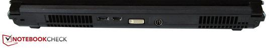 Back: Kensington Lock, eSATA / USB 2.0, HDMI, DVI, DC-in