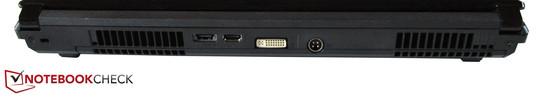 Back: Kensington Lock, eSATA / USB 2.0, HDMI, DVI, DC-in