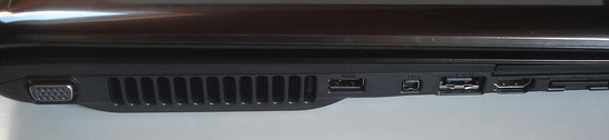 Left side: VGA, USB, Firewire, eSATA, HDMI, 8-in-1 cardreader