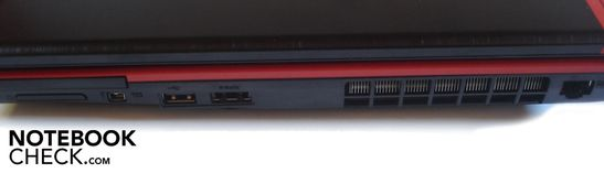Right side: 4-in-1 card reader (MMC, SD, XD, MS), Express card, Firewire, 1x USB 2.0, 1x eSATA/USB 2.0-combo port, RJ-45 Gigabit-Lan