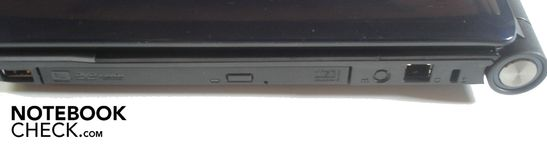 Right: USB 2.0, DVD burner, RJ-11 modem, Kensington Lock
