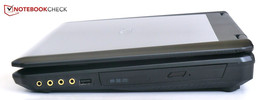 Right side: DVD-Drive, USB 2.0, Audio