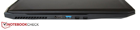 Left side: HDMI, USB 3.0, 2x Mini DisplayPort