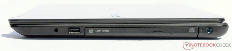 right: 3.5 mm combo port, USB 2.0, DVD RW drive, power-in