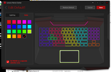 18 preset colors for the 7 different regions of the keyboard