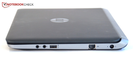 Right HP ProBook 430 G1: headphone out, microphone in, USB 2.0, Ethernet port, power socket