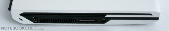 Left side: Slot-in DVD drive, USB/eSATA, LAN