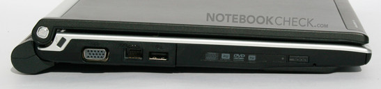 Left: DVD Burner, USB, LAN, VGA, Kensington Lock