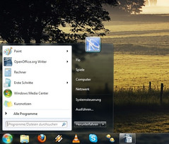 The start menu on Windows 7 inherits the search bar from Vista