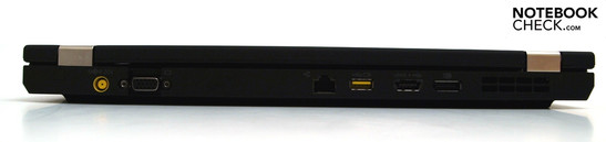 Back: DC-in, VGA, RJ45, powered USB; e-SATA-USB combination, display port, vent