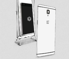 The reflection of the new OnePlus phone clearly shows the letter T.