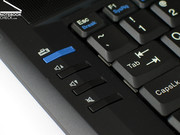The typical Thinkpad hotkeys, which include volume control and the blue ThinkVantage button, are also provided.