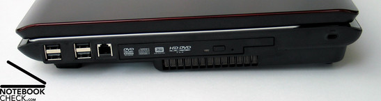 Right side: 4 x USB, Modem, HD DVD Drive, Fan, Kensington Lock