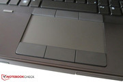 The lightly rubber coated touchpad has an agreeable width.