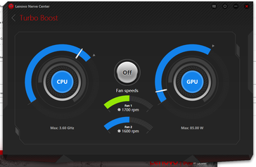 Turbo Boost off. Fan speeds are not customizable