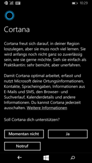 Cortana is now also available in German.