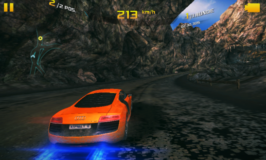 "Not completely smooth, even with low details and in the lowest resolution: ""Asphalt 8: Airborne""."