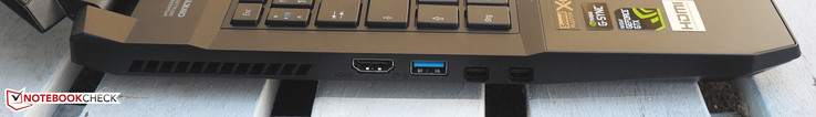 left: HDMI, USB 3.0, 2x mini DisplayPort