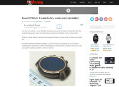 Asus ZenWatch 3 smartwatch leaks online, might launch at IFA 2016