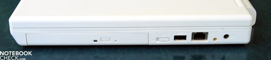 Right Side: DVD (Blu-Ray) drive, USB 2.0, LAN, antenna, power supply