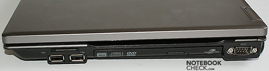 Right side: CardReader, 2x USB, Optical drive, COM